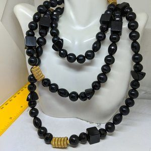 Jewelry - Chunky Long Vintage Black Lucite Bead Necklace